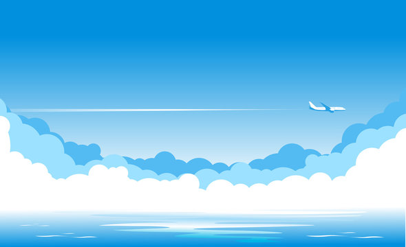 Blue sky with clouds and an airplane flying over the blue sea. Airliner over the ocean. Illustration, vector
