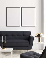 Fototapete - Mockup poster in modern living room interior background, 3D render