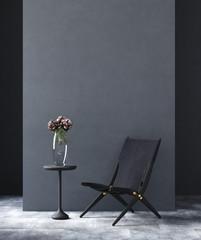 Wall Mural - Black modern living room loft, industrial style, 3d render