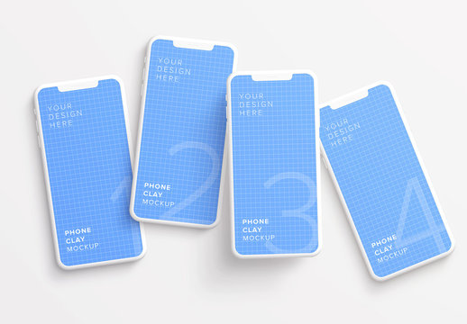 4 Smartphones Messy Mockup