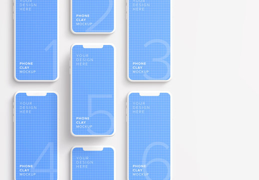 7 Smartphones in Grid Mockup