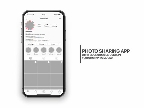 Instagram Photo Sharing Mobile App UI and UX Concept Vector Mockup in Light Mode on Frameless Smart Phone iPhone Screen Isolated on White Background. Social Network Account Bright Design Template