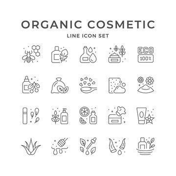 Set line icons of organic cosmetic