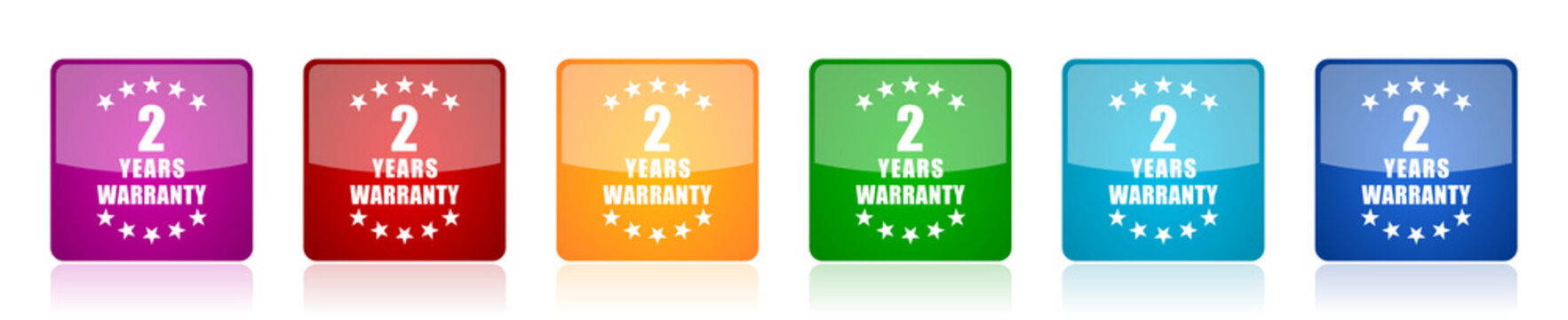 Warranty guarantee 2 year icon set, colorful square glossy vector illustrations in 6 options for web design and mobile applications
