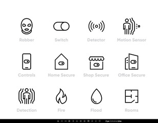 Obraz Robber Detectors and Security icons. Protection, Switch, Motion Sensor, Fire, Flood, Room, Control. Office, Home and Shop Secure Network Protection. Editable line vector set - fototapety do salonu