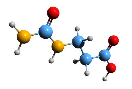 3D image of 3-Ureidopropionic acid skeletal formula - molecular chemical structure of N-carbamoyl-beta-alanine isolated on white background