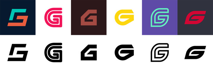 Set of letter G logo. Icon design. Template elements - Collection of vector sign