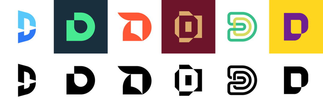 Set of letter D logo. Icon design. Template elements - Collection of vector sign