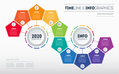 Infographic consisting of 10 parts divided into 2 segments of 5 parts. Business presentation concept with options. Brochure design template. Diagram of technology or education process with steps.