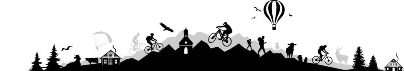 Mountain Sport Landscape Silhouette Outline Vector