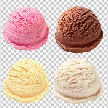 strawberry, chocolate and vanilla ice cream scoops or balls on isolated background including clipping path.