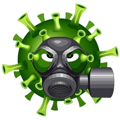 Tuinposter Draw Coronavirus Evil Virus Cartoon Character with Mask against Covid-19 Vector illustration isolated on white.