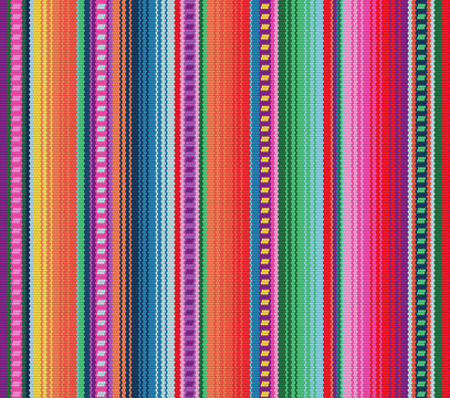 Blanket stripes seamless vector pattern. Background for Cinco de Mayo party decor or ethnic mexican fabric pattern with colorful stripes.