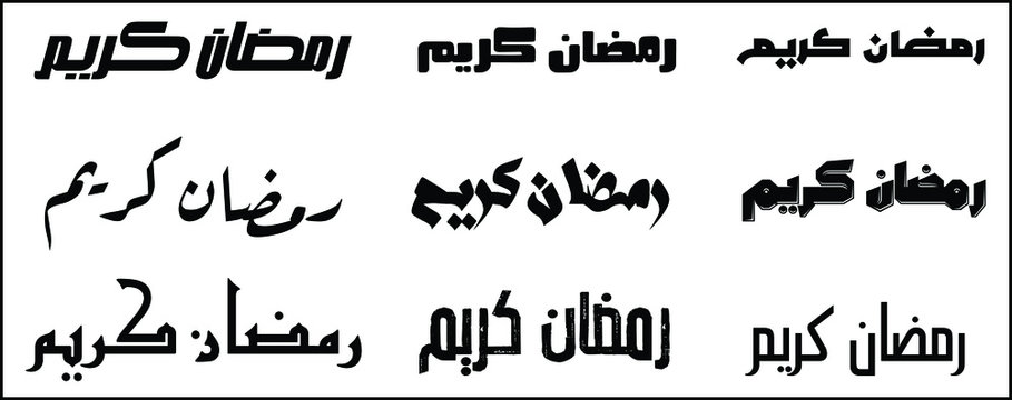 Some of Different vector of Arabic text font 'Ramadan Kareem' for design uses materials isolated on white background