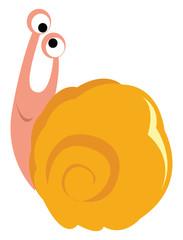 Cross eyed snail, illustration, vector on white background.