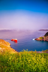Foto auf Leinwand Flieder A boat passing trough The Narrow Waterway at Saint John, Newfoundland, Canada