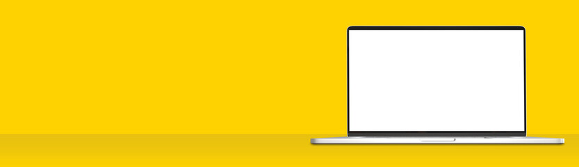 Open laptop computer blank screen with clipping path for easy replace you design you design mockup on simple yellow color wide banner background
