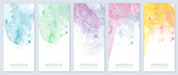 Set of light colorful vertical vector watercolor backgrounds for banner, brochure or flyer