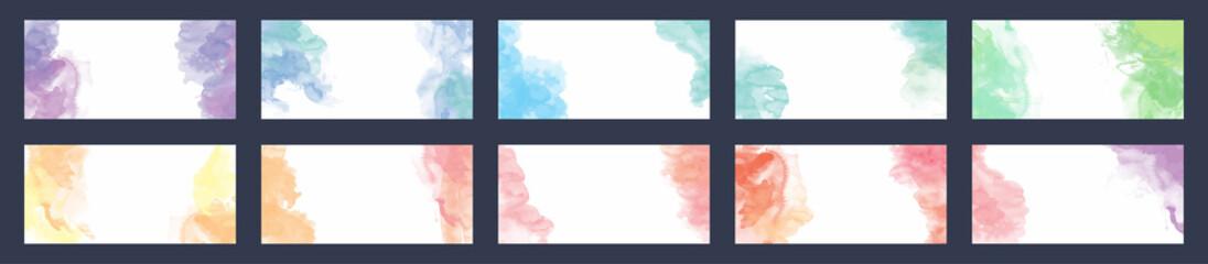 Fotobehang - Big bundle set of light vector colorful watercolor background for business card or flyer