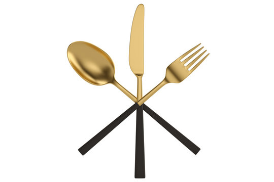 Luxury tableware Golden Set of knife fork and spoon isolated on white background. 3D illustration.