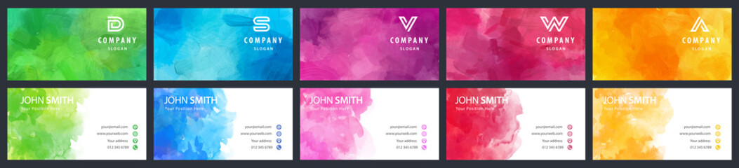 Fotobehang - Bundle set of colorful business card vector templates with watercolor backgrounds