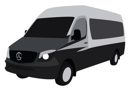 Grey sprinter, illustration, vector on white background.