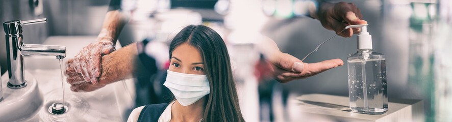 Foto auf AluDibond Bar Coronavirus corona virus prevention for COVID-19 banner. Hand sanitizer alcohol gel rub vs washing hands hygiene in hospital or Asian woman wearing face mask preventive epidemic spreading header.