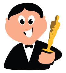 Oscar winner, illustration, vector on white background.