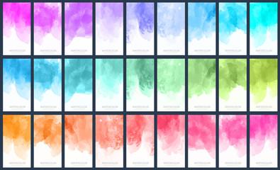 Fotobehang - Big set of light colorful vector watercolor vertical backgrounds for poster, banner or flyer