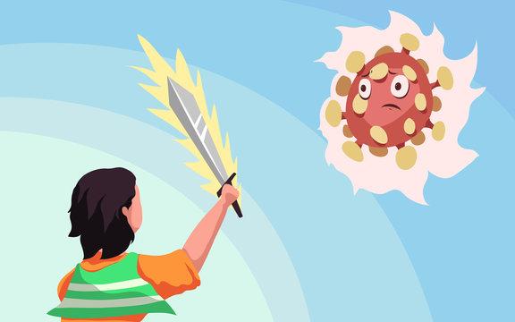 Vector illustration fight against covid-19 virus or coronavirus. cure corona virus. people fight virus concept. corona viruses vaccine concept. don%27t be afraid corona virus concept. stop coronavirus