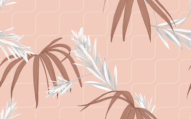 Foliage seamless pattern, bottle brush leaves and Rhapis excelsa leaves in brown tones