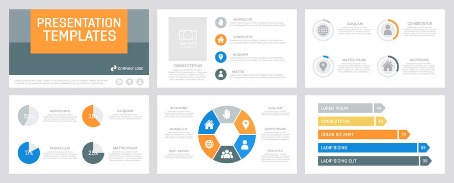 Set of gray, orange, blue and yellow elements for multipurpose presentation template slides with graphs and charts.