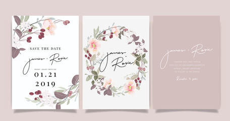 Fototapeta sherry blossom Summer Flower Wedding Invitation set, floral invite thank you, rsvp modern card Design in pink leaf greenery  branches with blue background decorative Vector elegant rustic template obraz