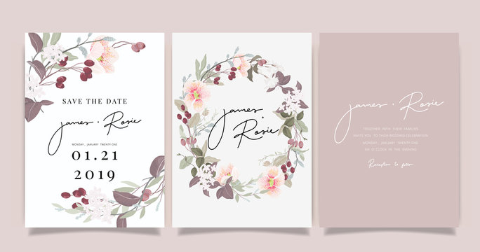 sherry blossom Summer Flower Wedding Invitation set, floral invite thank you, rsvp modern card Design in pink leaf greenery  branches with blue background decorative Vector elegant rustic template
