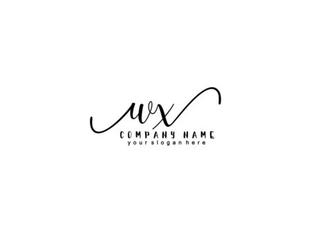 Letter WX handwrititing logo with a beautiful template