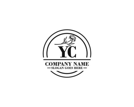 Letter YC handwrititing logo with a beautiful template