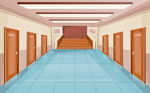 School corridor with doors and stair. University interior. Hallway in college or office building. Vector
