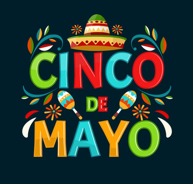 Cinco de mayo.May 5 holiday in Mexico. Poster with grunge texture. Chili peppers and sombrero. Cartoon style. Vector banner.