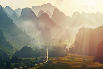 Aerial view of dawn on mountain at Ngoc Con ward, Trung Khanh town, Cao Bang province, Vietnam. Near Ban Gioc waterfall