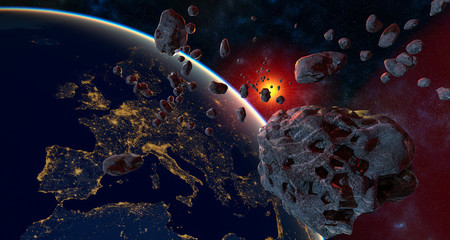 Keuken foto achterwand Heelal asteroid and swarm of meteorites flying towards Earth - artistic vision.3d illustration