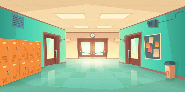 School hallway interior with entrance doors, lockers and bulletin board on wall. Vector cartoon illustration of empty corridor in college, university with closed classrooms doors
