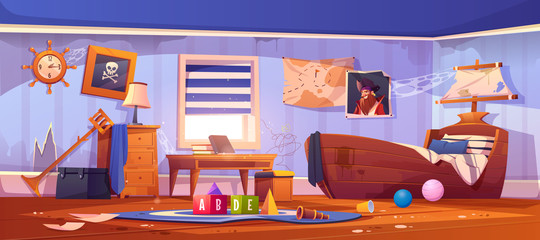 Abandoned kids bedroom in pirate style, neglected empty interior with ship bed, captain portrait, spiderweb on wall, ragged wallpaper, children room with scattered rubbish, cartoon vector illustration Wall mural