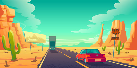 Garden Poster Cartoon cars Road in desert with cars riding long asphalt highway with 66 route sign, ad billboard, rocks and cacti. Roadway landscape with skyline, rocky barren wasteland. Travel trip cartoon vector illustration