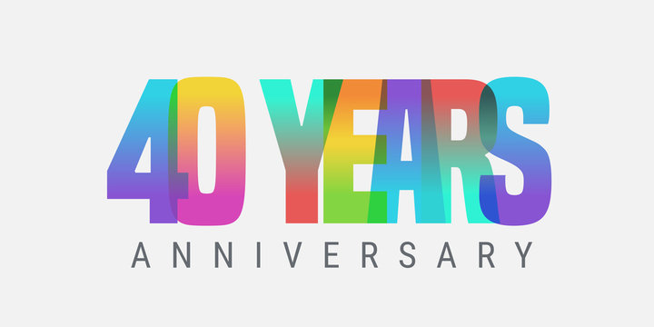 40 years anniversary vector icon, logo. Multicolor design element with modern style sign