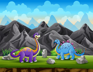 Foto auf Leinwand Kinder Two dinosaurs at the mountain cliff background