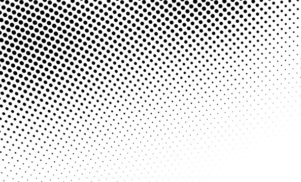 Abstract monochrome halftone texture. Chaotic wave of black dots on a white background