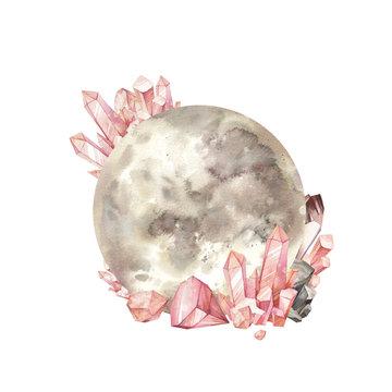 Full moon and gem stones. Magic illustration isolated on white background.