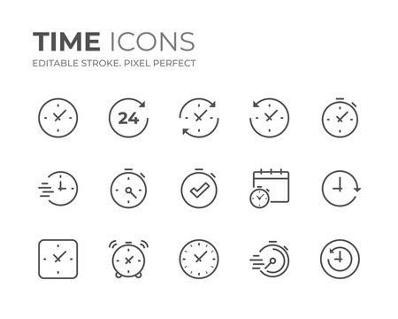 Time & Clock Line Icons Set