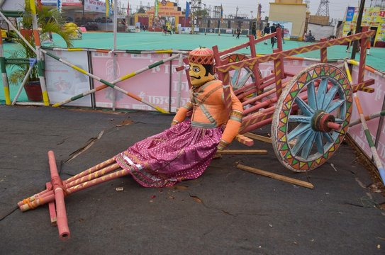 Bhopal, Madhya Pradesh/India : January 17, 2020 - Bullock Cart with Marionette or Kathputli at Utsav Mela, Bhopal