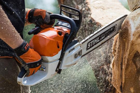 Khmelnitsky. Ukraine. June 22, 2019.Stihl chainsaw in Khmelnitsky. Stihl is a German manufacturer of chainsaws and other handheld power equipment